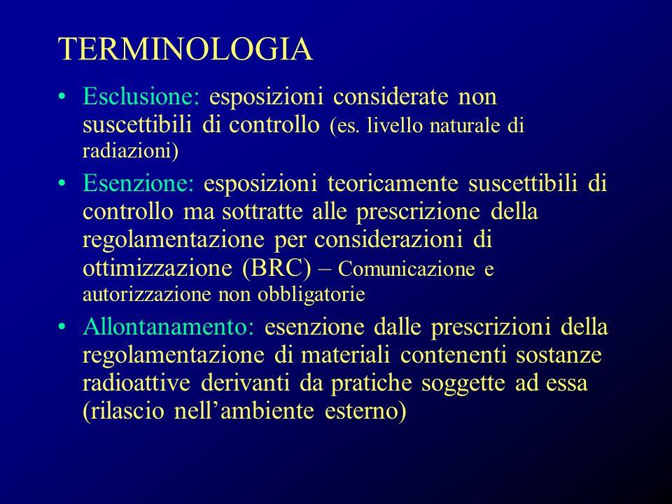 TERMINOLOGIA Esclusione: esposizioni considerate non suscettibili di controllo (es. livello naturale di radiazioni)