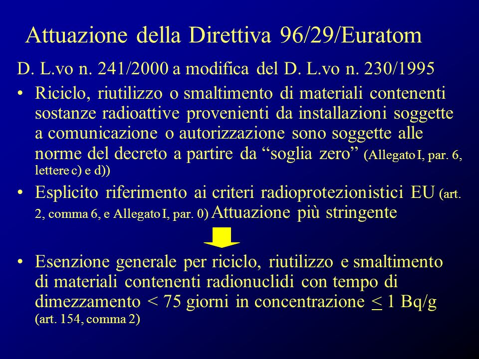 Attuazione della Direttiva 96/29/Euratom