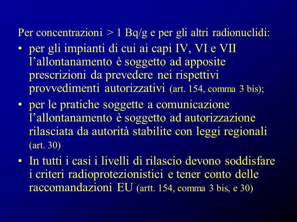 Per concentrazioni > 1 Bq/g e per gli altri radionuclidi: