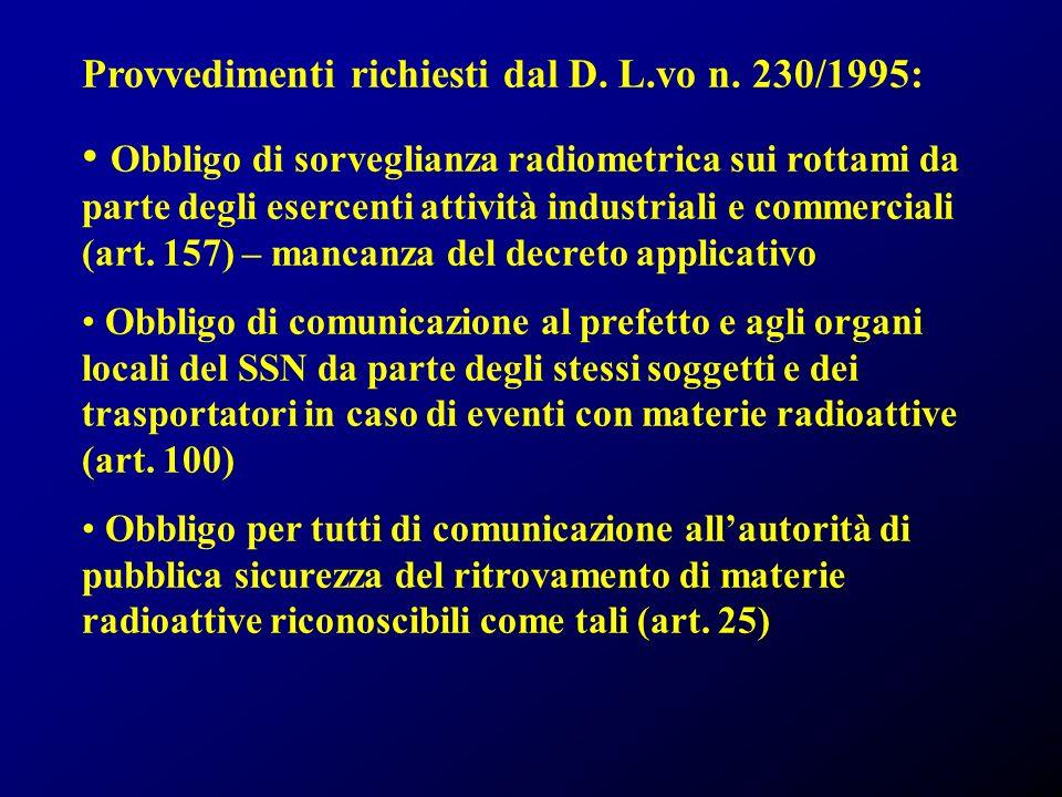 Provvedimenti richiesti dal D. L.vo n. 230/1995: