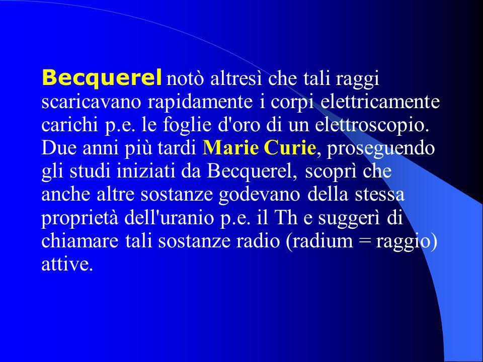 Becquerel notò altresì che tali raggi scaricavano rapidamente i corpi elettricamente carichi p.e.