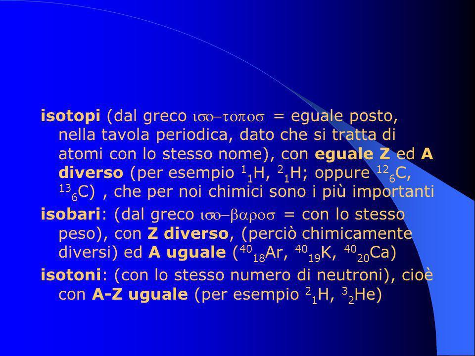 isotopi (dal greco iso-topos = eguale posto, nella tavola periodica, dato che si tratta di atomi con lo stesso nome), con eguale Z ed A diverso (per esempio 11H, 21H; oppure 126C, 136C) , che per noi chimici sono i più importanti