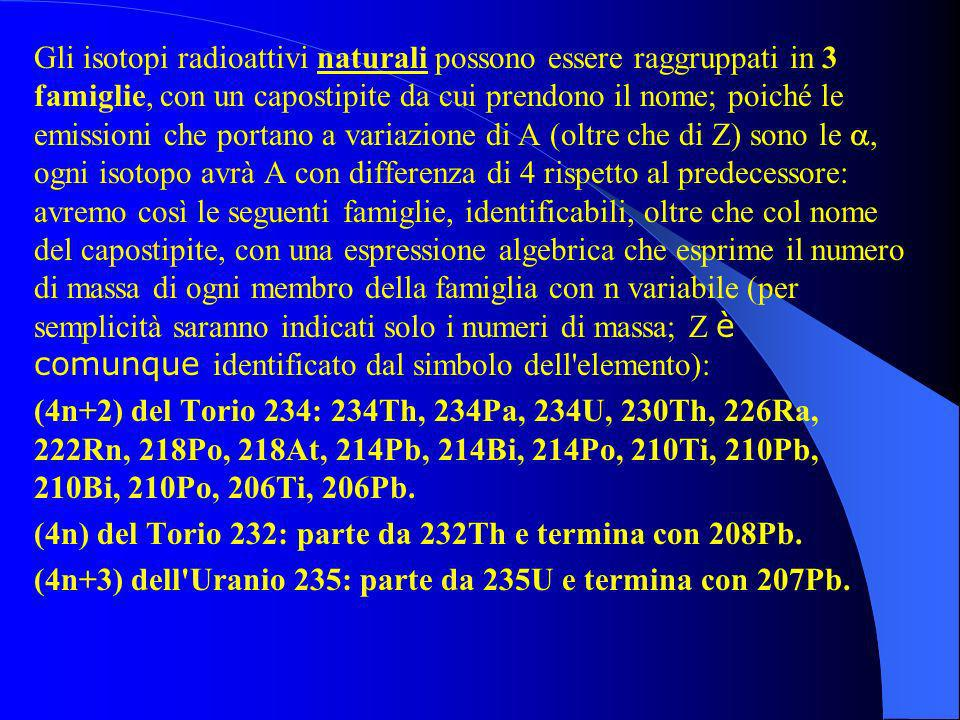 Gli isotopi radioattivi naturali possono essere raggruppati in 3 famiglie, con un capostipite da cui prendono il nome; poiché le emissioni che portano a variazione di A (oltre che di Z) sono le a, ogni isotopo avrà A con differenza di 4 rispetto al predecessore: avremo così le seguenti famiglie, identificabili, oltre che col nome del capostipite, con una espressione algebrica che esprime il numero di massa di ogni membro della famiglia con n variabile (per semplicità saranno indicati solo i numeri di massa; Z è comunque identificato dal simbolo dell elemento): (4n+2) del Torio 234: 234Th, 234Pa, 234U, 230Th, 226Ra, 222Rn, 218Po, 218At, 214Pb, 214Bi, 214Po, 210Ti, 210Pb, 210Bi, 210Po, 206Ti, 206Pb.
