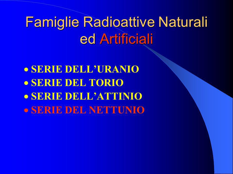 Famiglie Radioattive Naturali ed Artificiali