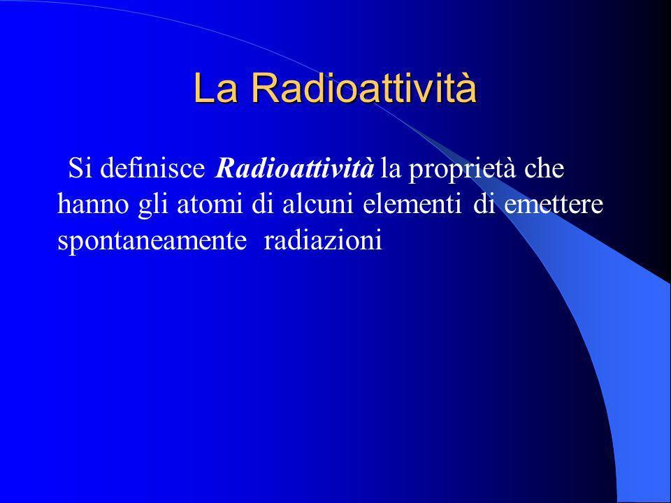 La Radioattività Si definisce Radioattività la proprietà che hanno gli atomi di alcuni elementi di emettere spontaneamente radiazioni.