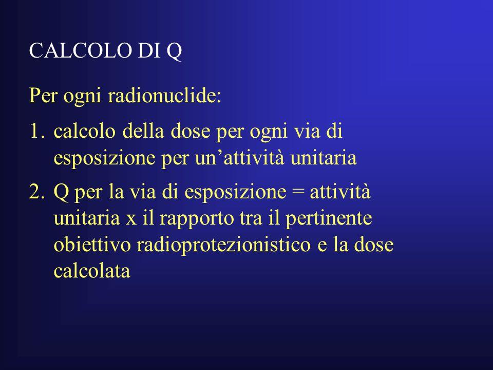 CALCOLO DI Q Per ogni radionuclide: calcolo della dose per ogni via di esposizione per un'attività unitaria.