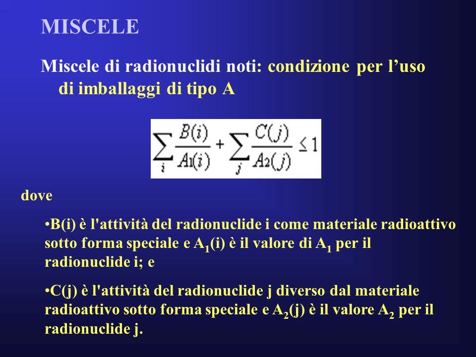 MISCELE Miscele di radionuclidi noti: condizione per l'uso di imballaggi di tipo A. dove.