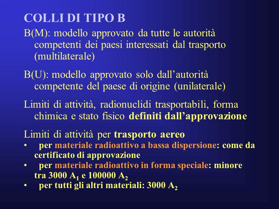 COLLI DI TIPO B B(M): modello approvato da tutte le autorità competenti dei paesi interessati dal trasporto (multilaterale)