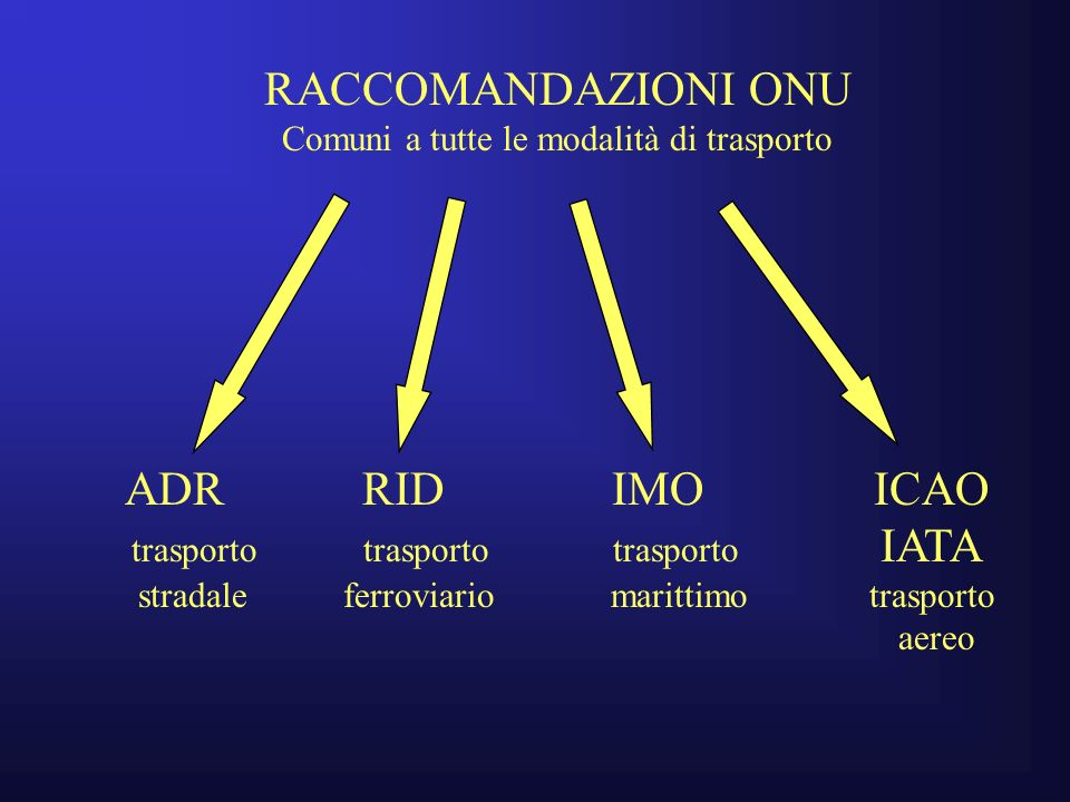 RACCOMANDAZIONI ONU ADR RID IMO ICAO