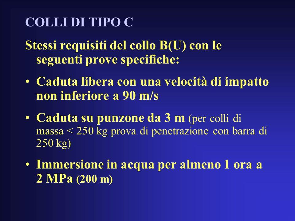 COLLI DI TIPO C Stessi requisiti del collo B(U) con le seguenti prove specifiche: Caduta libera con una velocità di impatto non inferiore a 90 m/s.