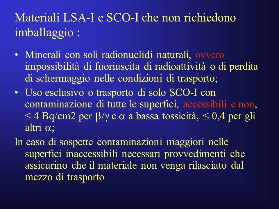 Materiali LSA-I e SCO-I che non richiedono imballaggio :