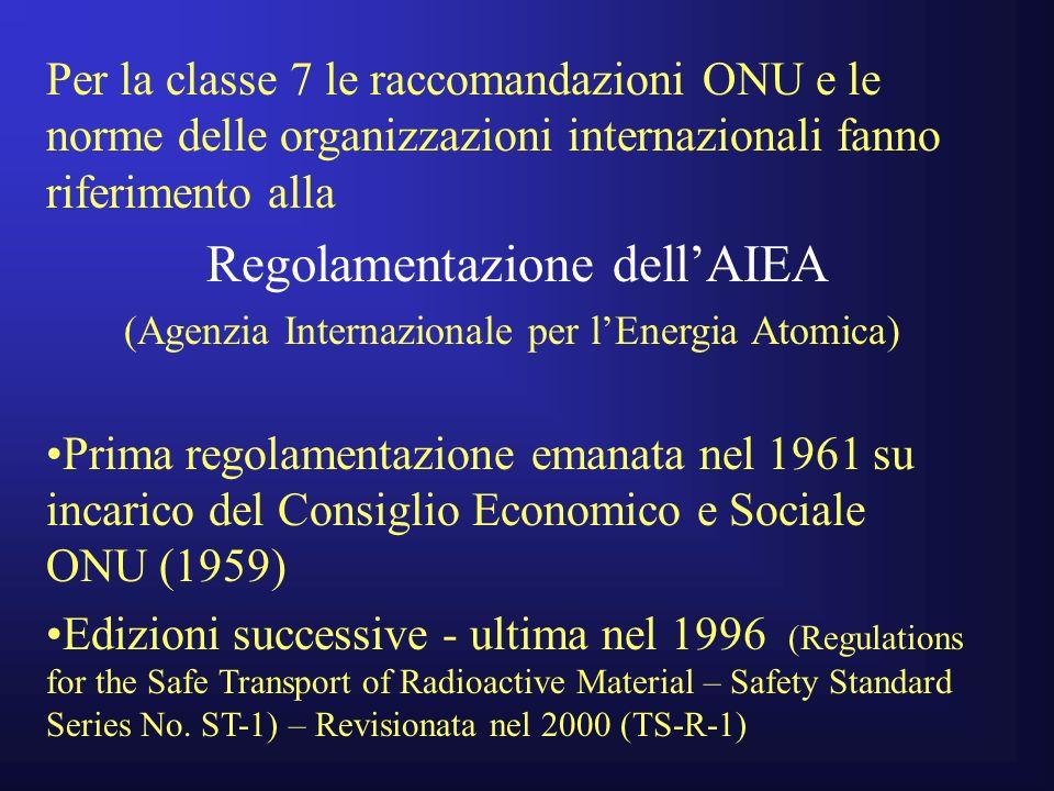 Per la classe 7 le raccomandazioni ONU e le norme delle organizzazioni internazionali fanno riferimento alla