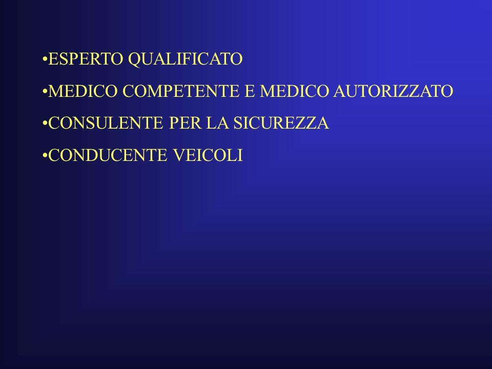 ESPERTO QUALIFICATO MEDICO COMPETENTE E MEDICO AUTORIZZATO.