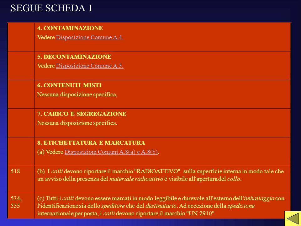 SEGUE SCHEDA 1 4. CONTAMINAZIONE Vedere Disposizione Comune A.4.