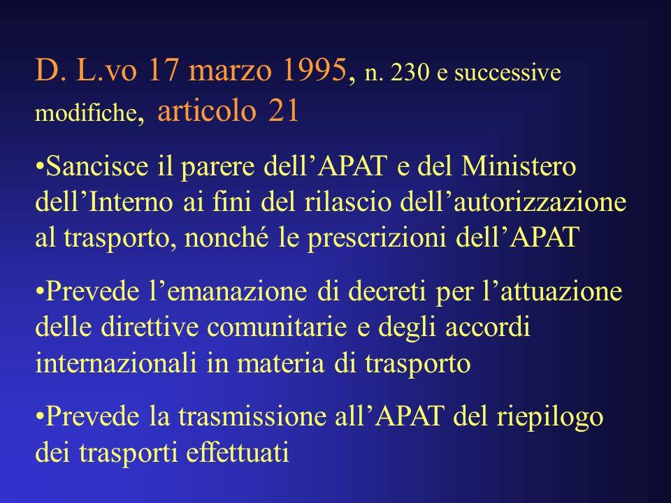 D. L.vo 17 marzo 1995, n. 230 e successive modifiche, articolo 21