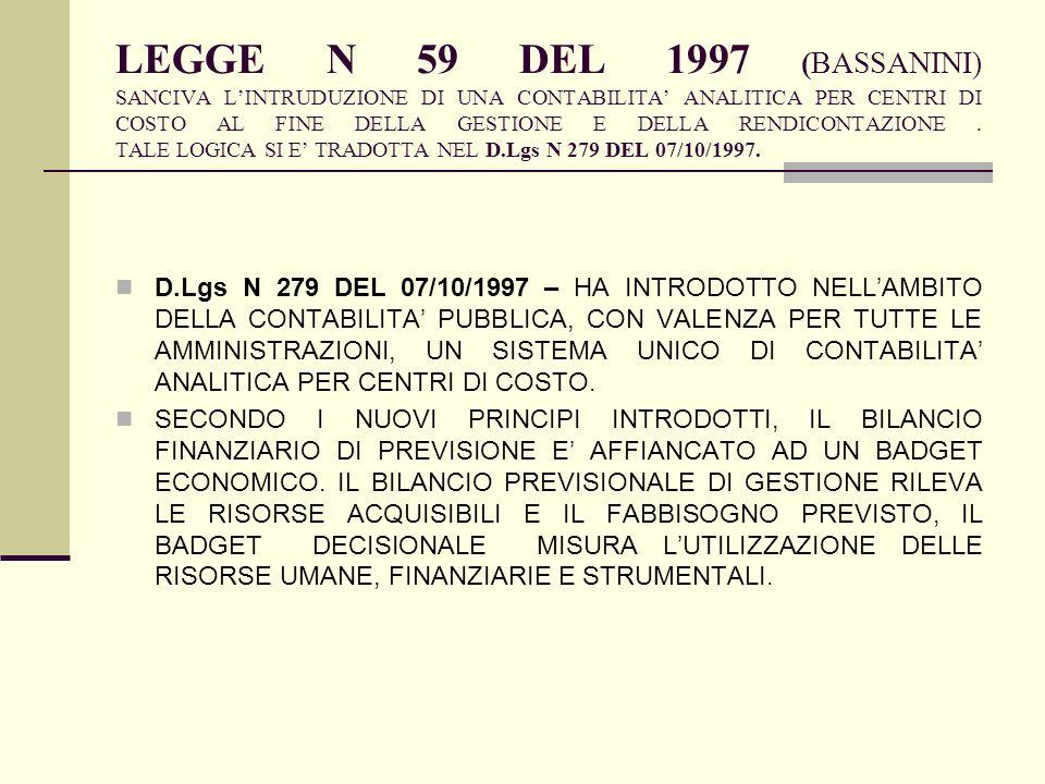 LEGGE N 59 DEL 1997 (BASSANINI) SANCIVA L'INTRUDUZIONE DI UNA CONTABILITA' ANALITICA PER CENTRI DI COSTO AL FINE DELLA GESTIONE E DELLA RENDICONTAZIONE . TALE LOGICA SI E' TRADOTTA NEL D.Lgs N 279 DEL 07/10/1997.