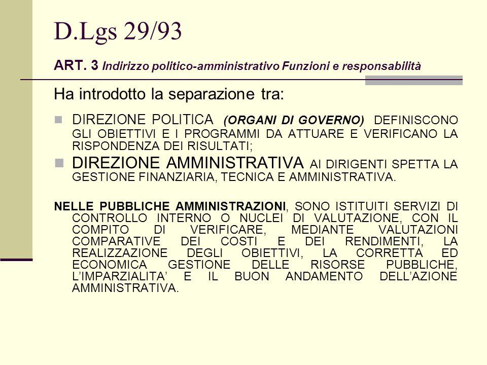 D.Lgs 29/93 ART. 3 Indirizzo politico-amministrativo Funzioni e responsabilità