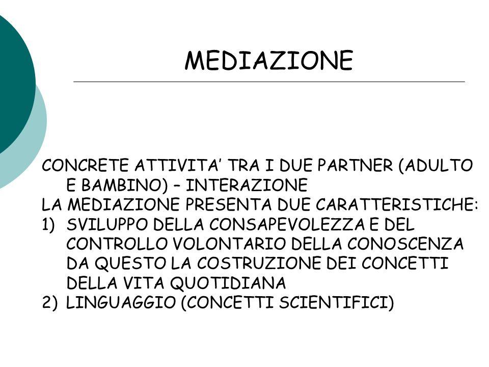 MEDIAZIONE CONCRETE ATTIVITA' TRA I DUE PARTNER (ADULTO E BAMBINO) – INTERAZIONE. LA MEDIAZIONE PRESENTA DUE CARATTERISTICHE: