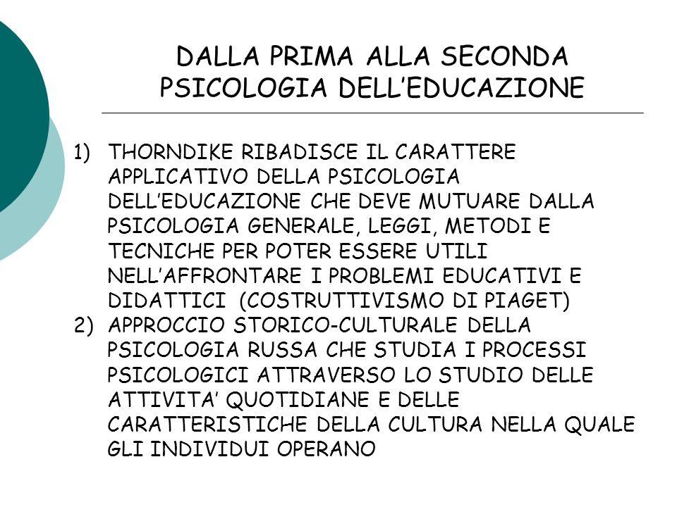 DALLA PRIMA ALLA SECONDA PSICOLOGIA DELL'EDUCAZIONE