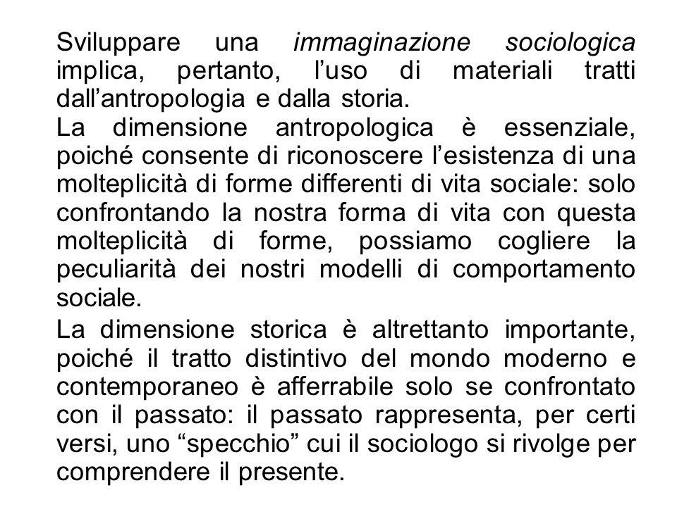 Sviluppare una immaginazione sociologica implica, pertanto, l'uso di materiali tratti dall'antropologia e dalla storia.