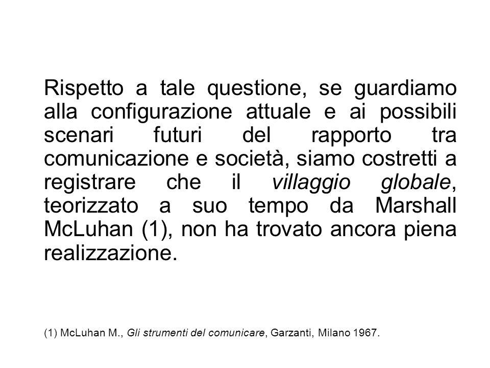 (1) McLuhan M., Gli strumenti del comunicare, Garzanti, Milano 1967.