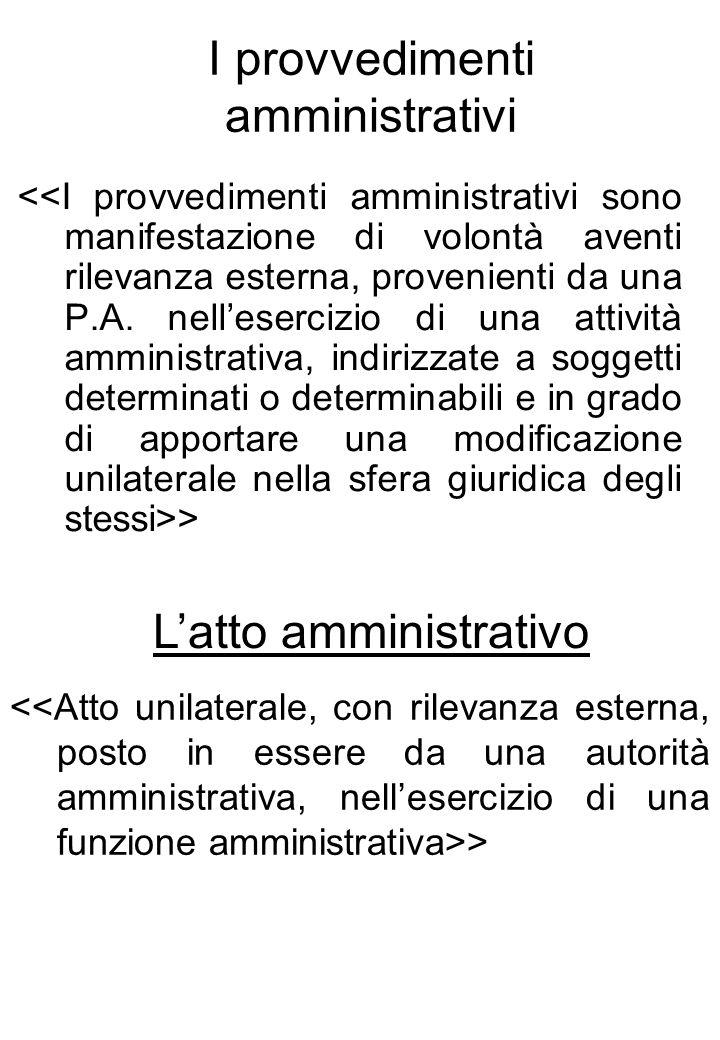 I provvedimenti amministrativi