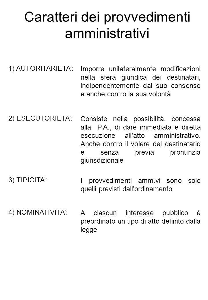 Caratteri dei provvedimenti amministrativi
