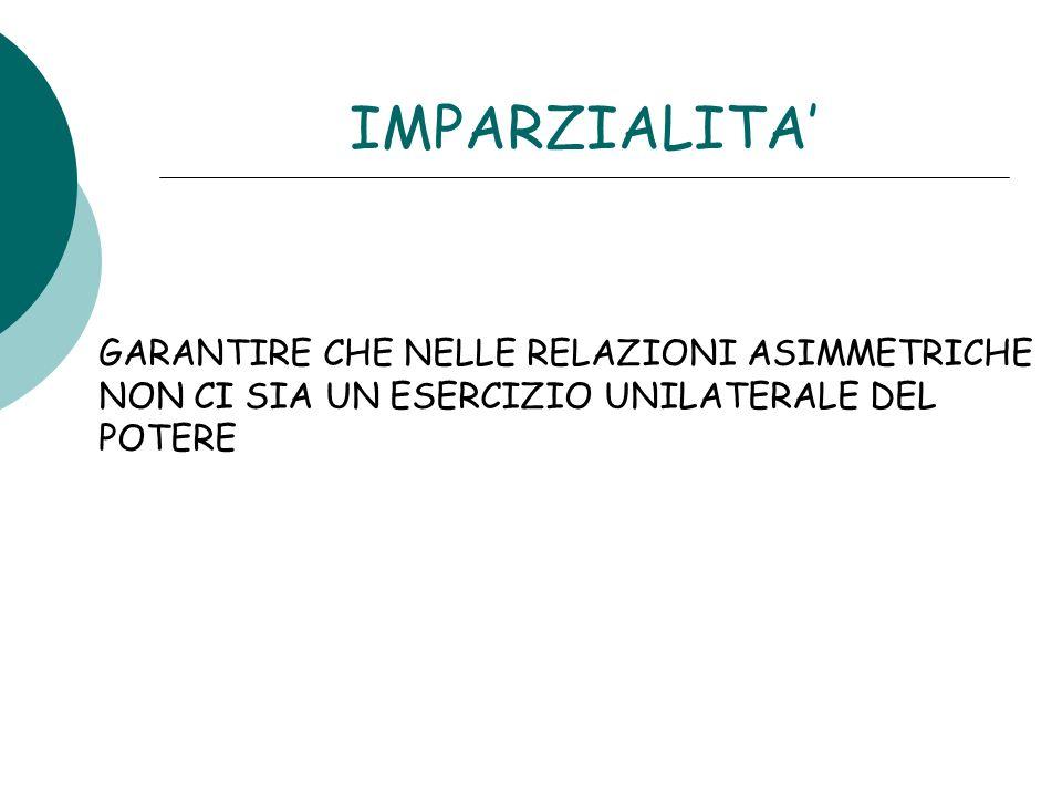 IMPARZIALITA' GARANTIRE CHE NELLE RELAZIONI ASIMMETRICHE NON CI SIA UN ESERCIZIO UNILATERALE DEL POTERE.