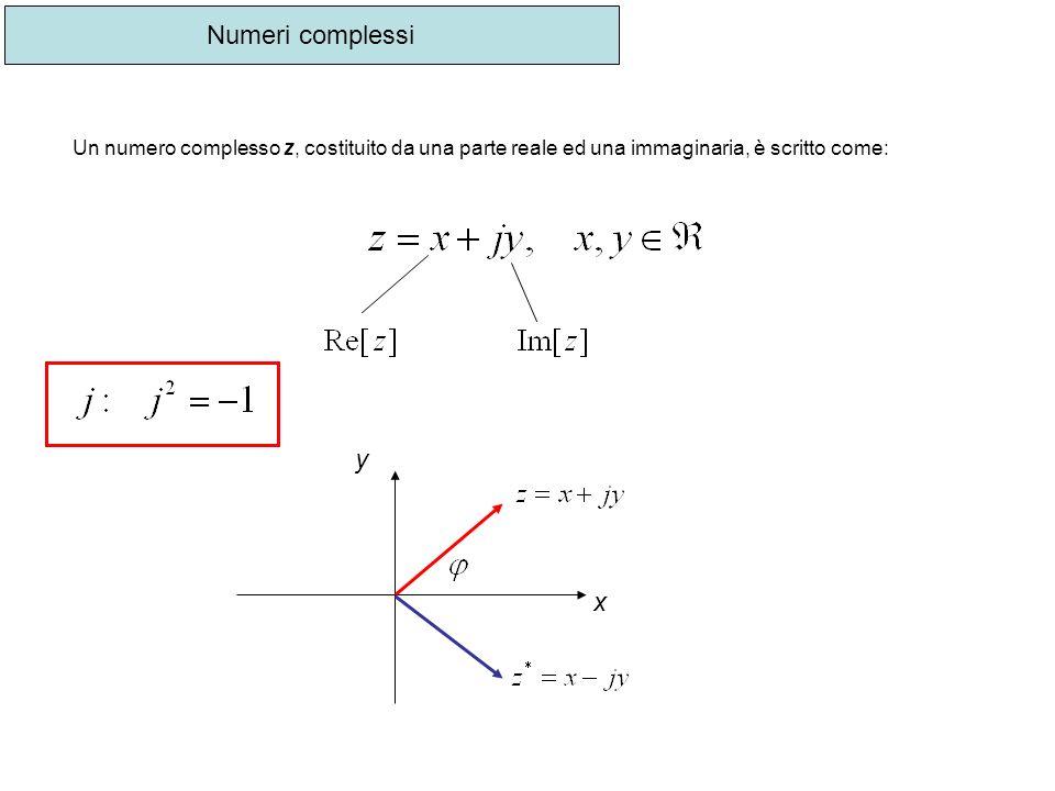 Numeri complessi Un numero complesso z, costituito da una parte reale ed una immaginaria, è scritto come: