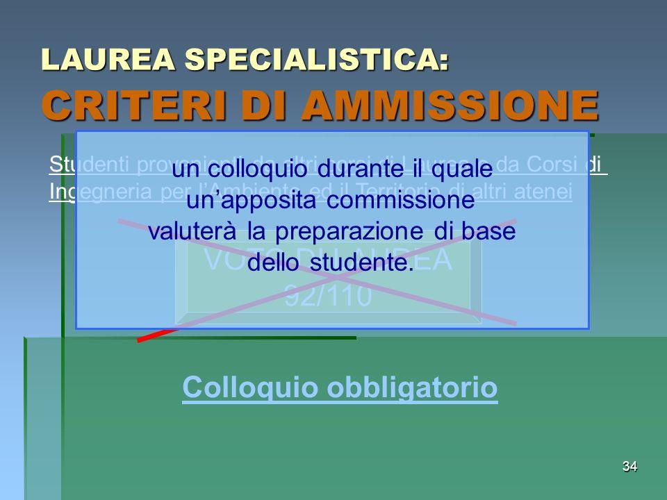 CRITERI DI AMMISSIONE LAUREA SPECIALISTICA: VOTO DI LAUREA 92/110