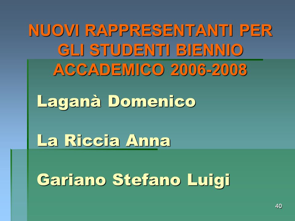 Laganà Domenico La Riccia Anna Gariano Stefano Luigi