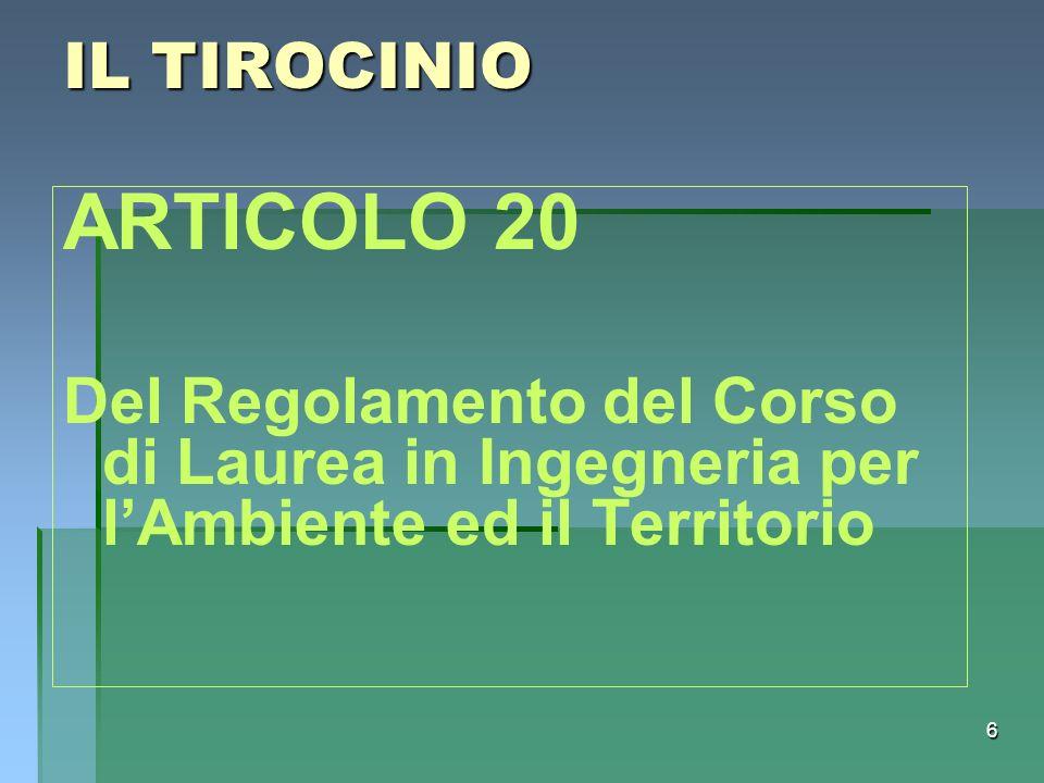 IL TIROCINIO ARTICOLO 20.