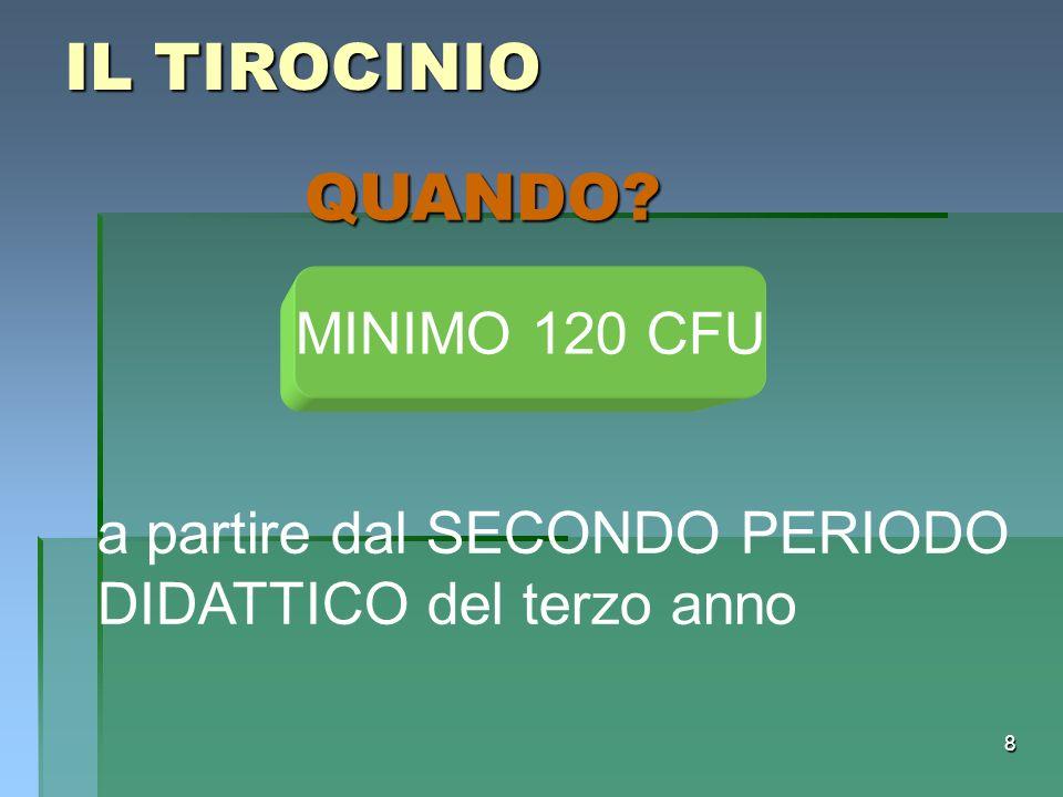 IL TIROCINIO QUANDO MINIMO 120 CFU