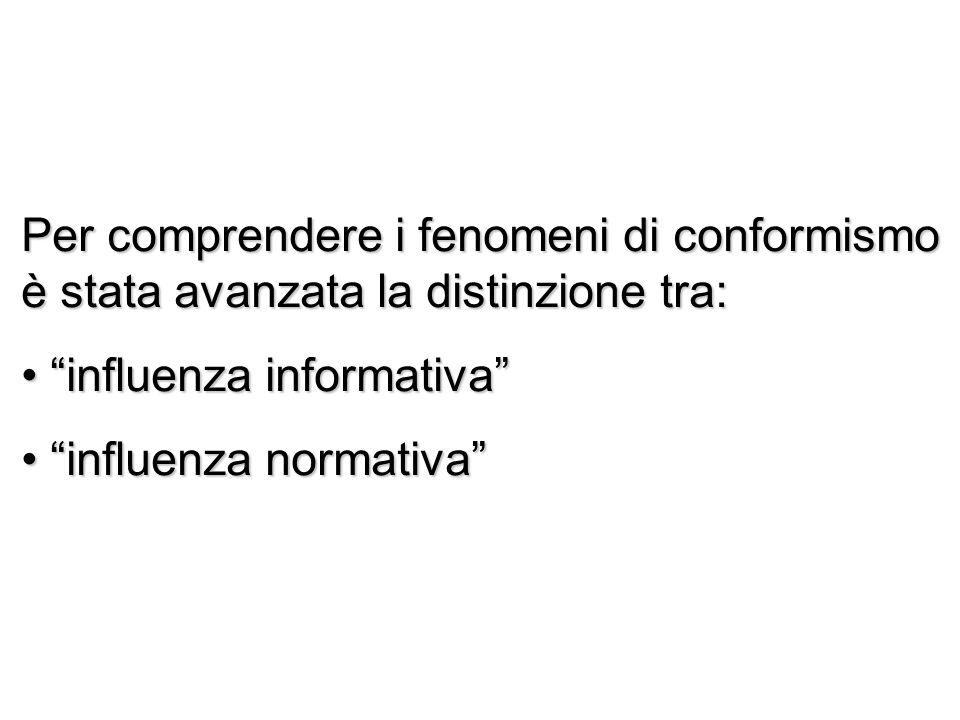 Per comprendere i fenomeni di conformismo è stata avanzata la distinzione tra: