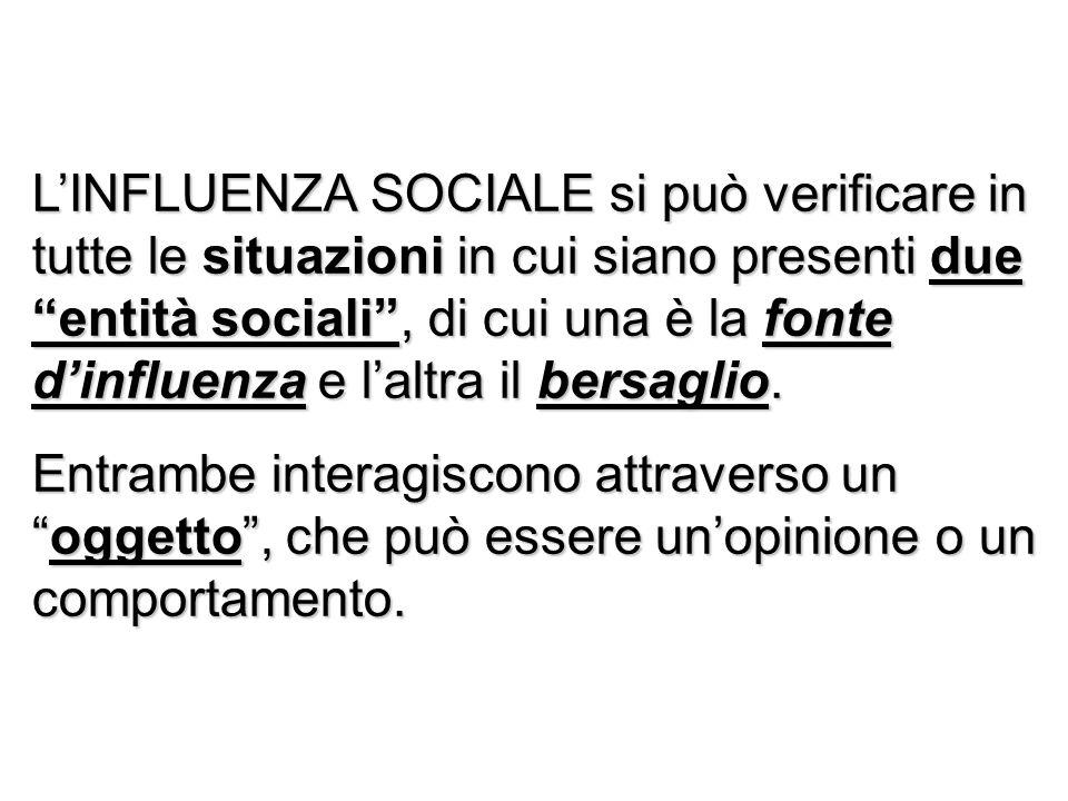 L'INFLUENZA SOCIALE si può verificare in tutte le situazioni in cui siano presenti due entità sociali , di cui una è la fonte d'influenza e l'altra il bersaglio.