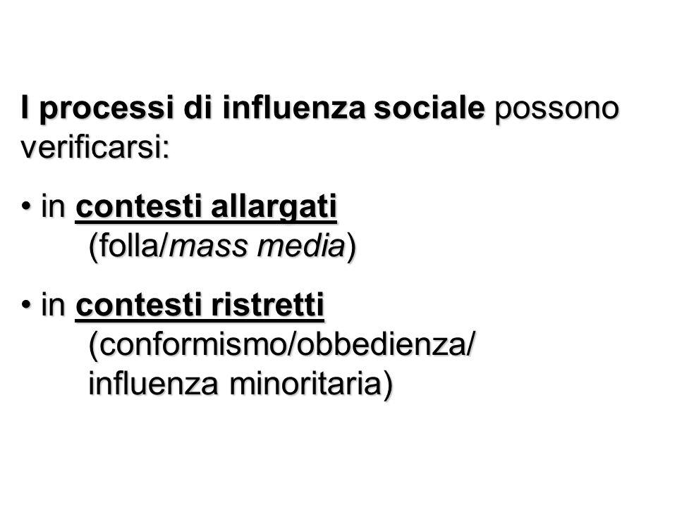 I processi di influenza sociale possono verificarsi: