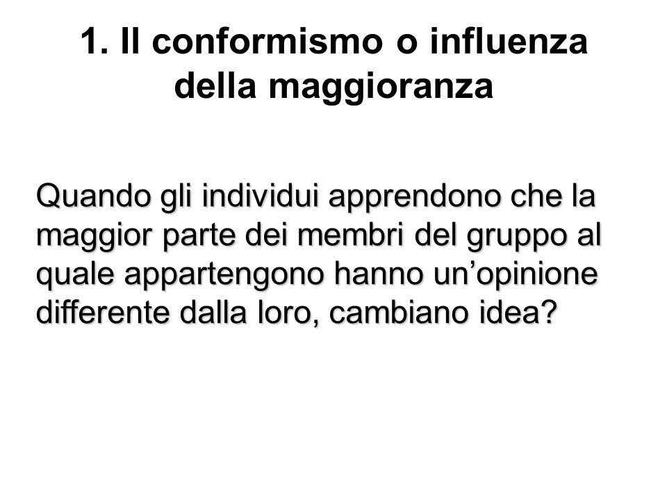 1. Il conformismo o influenza della maggioranza