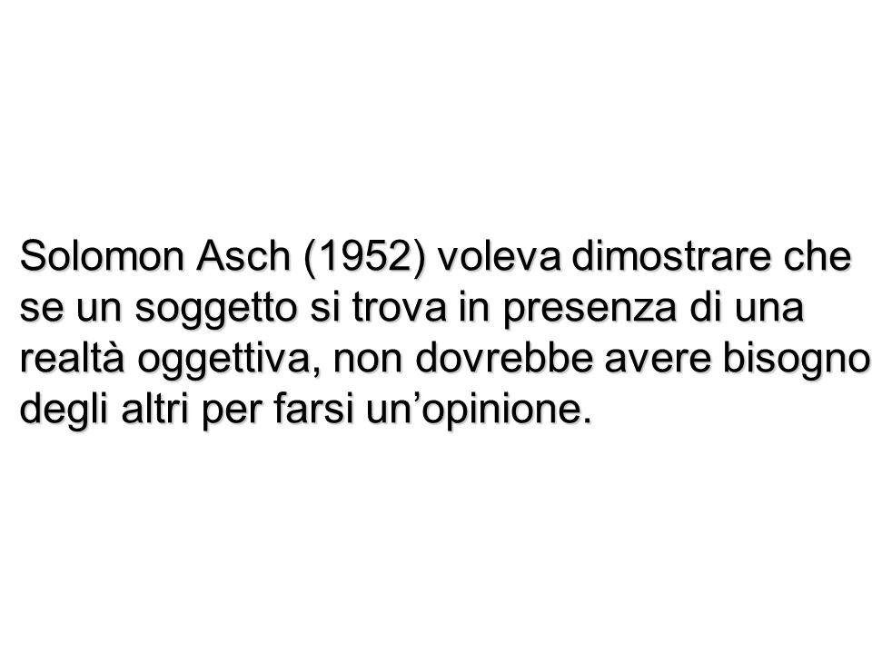 Solomon Asch (1952) voleva dimostrare che se un soggetto si trova in presenza di una realtà oggettiva, non dovrebbe avere bisogno degli altri per farsi un'opinione.