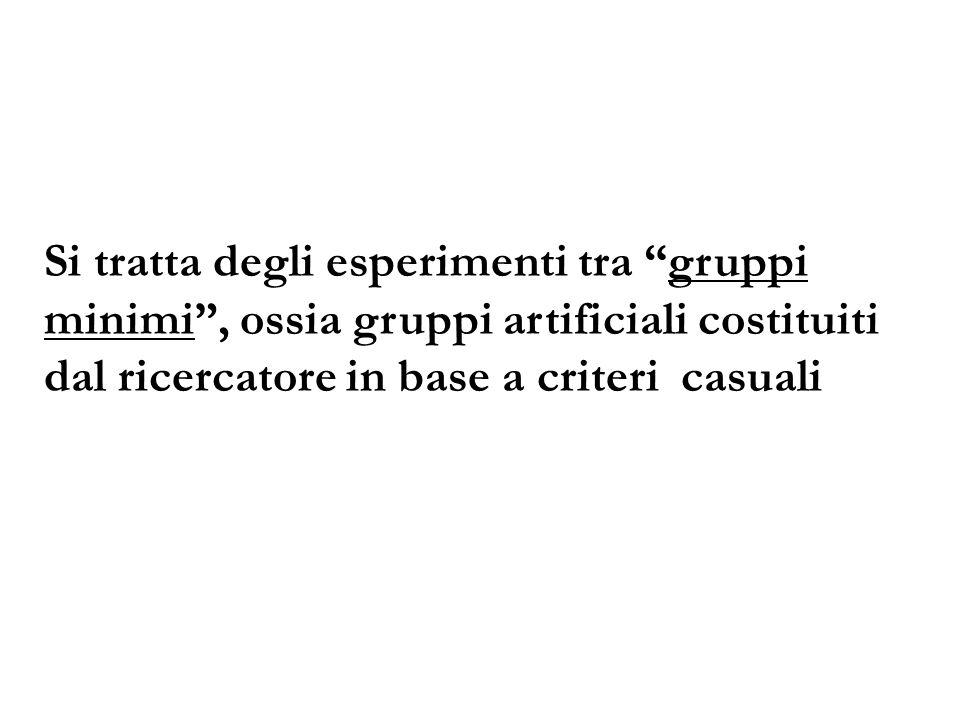 Si tratta degli esperimenti tra gruppi minimi , ossia gruppi artificiali costituiti dal ricercatore in base a criteri casuali