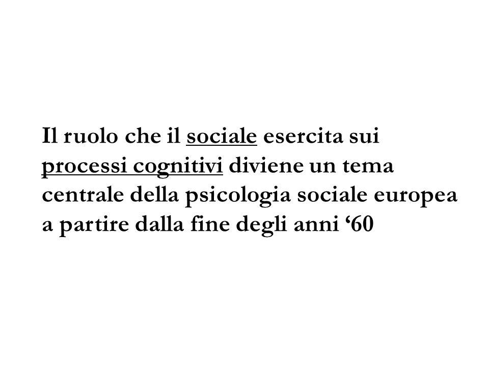 Il ruolo che il sociale esercita sui processi cognitivi diviene un tema centrale della psicologia sociale europea a partire dalla fine degli anni '60
