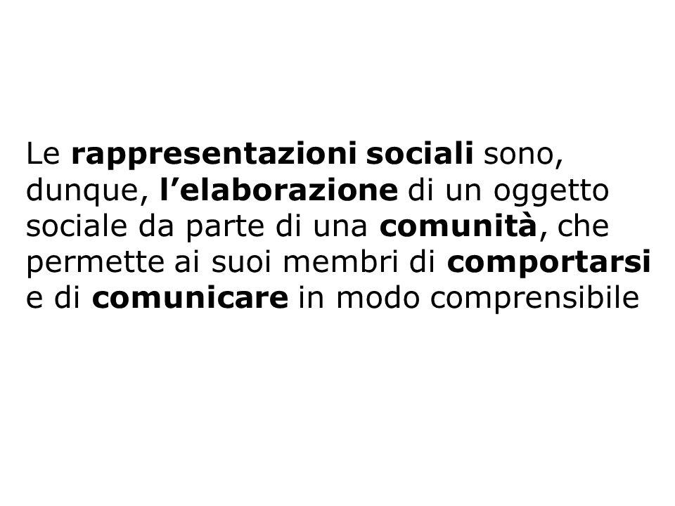 Le rappresentazioni sociali sono, dunque, l'elaborazione di un oggetto sociale da parte di una comunità, che permette ai suoi membri di comportarsi e di comunicare in modo comprensibile