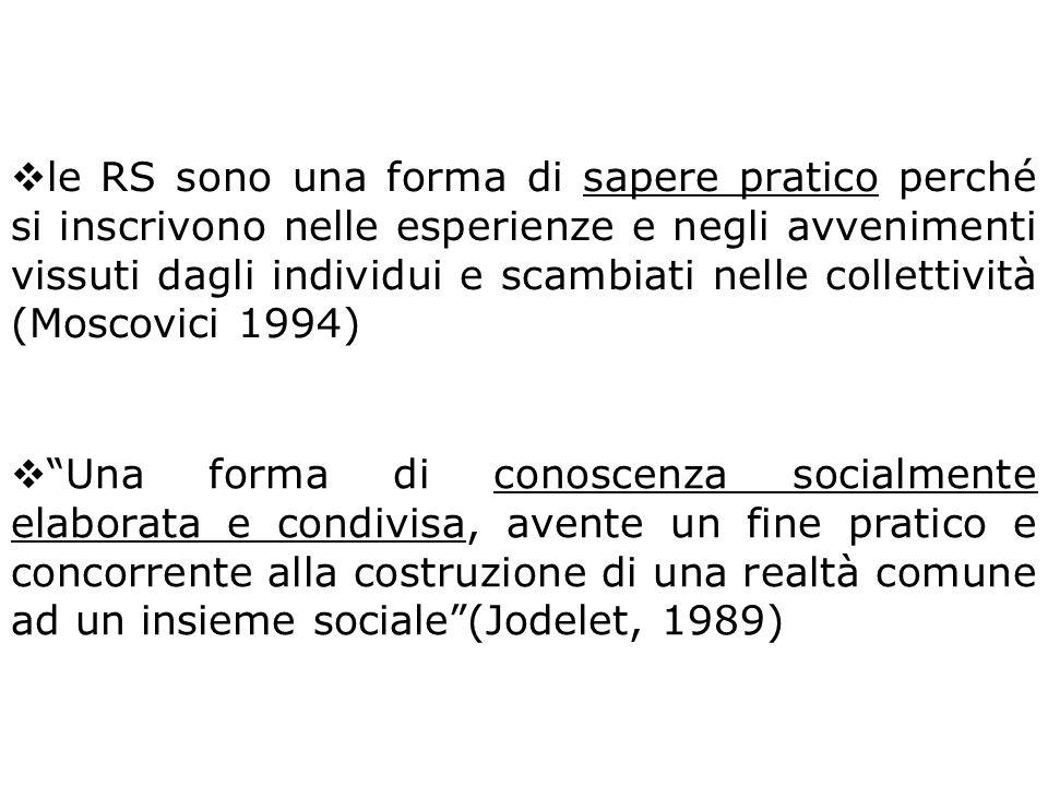 le RS sono una forma di sapere pratico perché si inscrivono nelle esperienze e negli avvenimenti vissuti dagli individui e scambiati nelle collettività (Moscovici 1994)