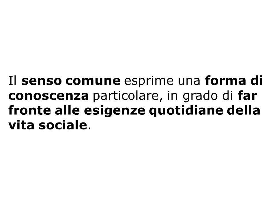 Il senso comune esprime una forma di conoscenza particolare, in grado di far fronte alle esigenze quotidiane della vita sociale.