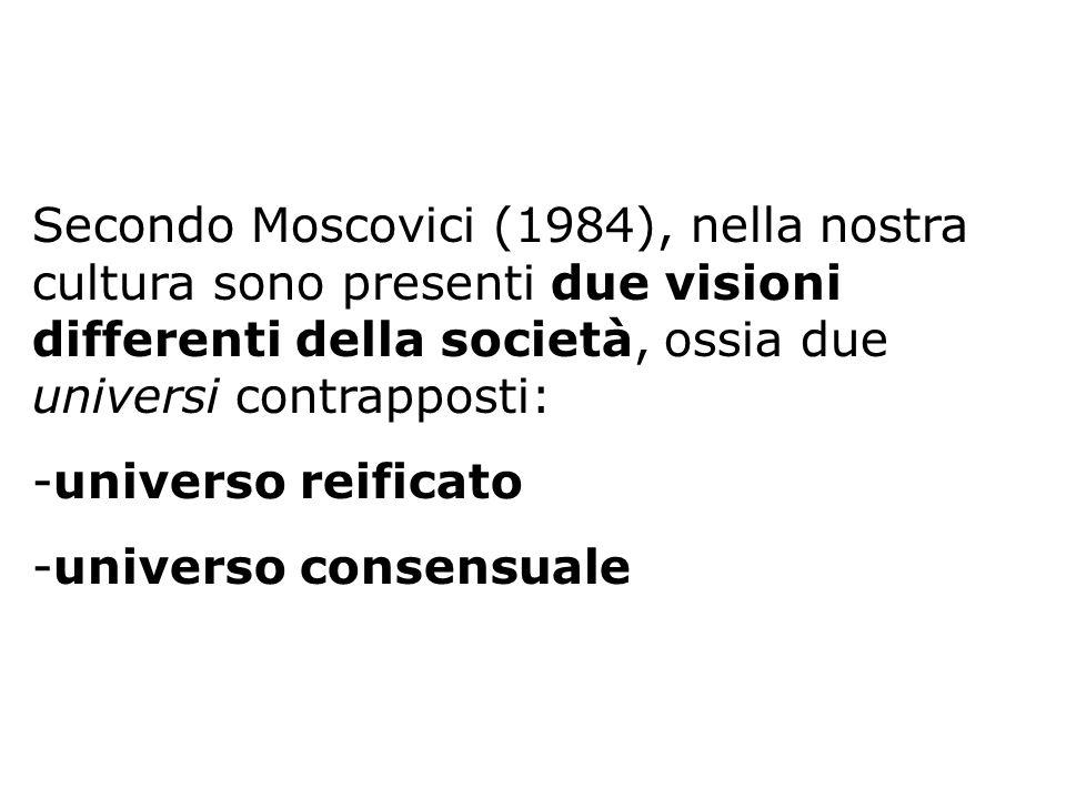 Secondo Moscovici (1984), nella nostra cultura sono presenti due visioni differenti della società, ossia due universi contrapposti: