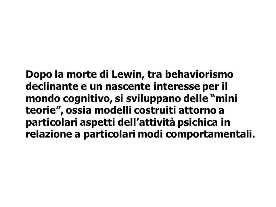 Dopo la morte di Lewin, tra behaviorismo declinante e un nascente interesse per il mondo cognitivo, si sviluppano delle mini teorie , ossia modelli costruiti attorno a particolari aspetti dell'attività psichica in relazione a particolari modi comportamentali.