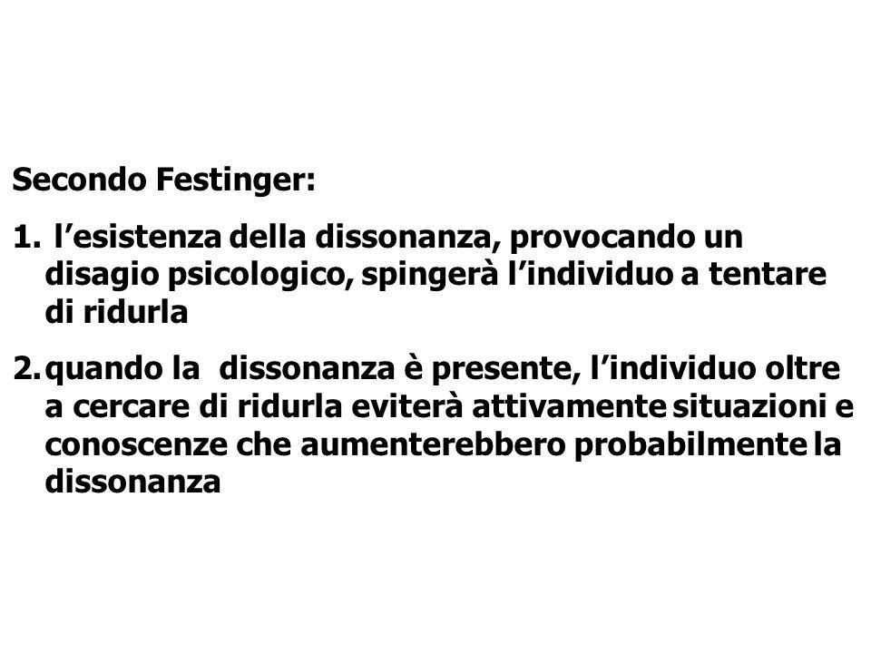 Secondo Festinger: l'esistenza della dissonanza, provocando un disagio psicologico, spingerà l'individuo a tentare di ridurla.