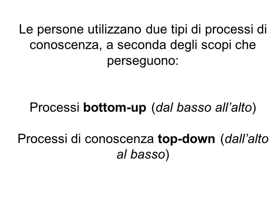 Le persone utilizzano due tipi di processi di conoscenza, a seconda degli scopi che perseguono: Processi bottom-up (dal basso all'alto) Processi di conoscenza top-down (dall'alto al basso)