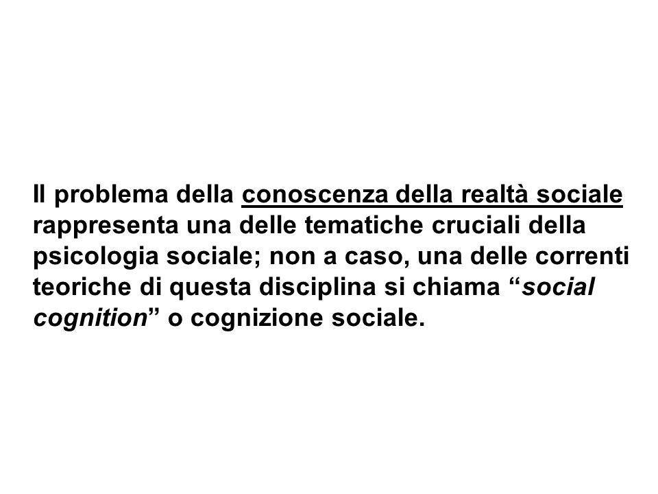 Il problema della conoscenza della realtà sociale rappresenta una delle tematiche cruciali della psicologia sociale; non a caso, una delle correnti teoriche di questa disciplina si chiama social cognition o cognizione sociale.