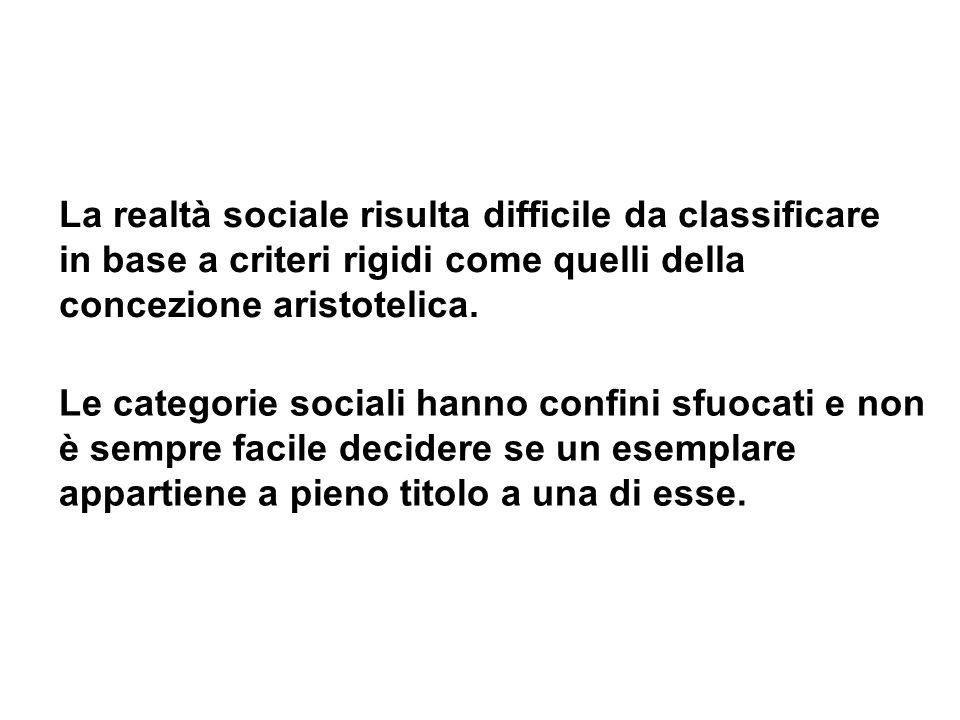 La realtà sociale risulta difficile da classificare in base a criteri rigidi come quelli della concezione aristotelica.