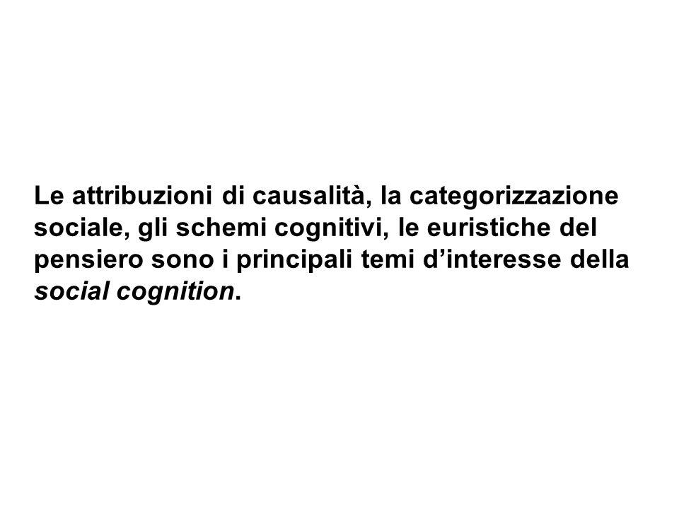 Le attribuzioni di causalità, la categorizzazione sociale, gli schemi cognitivi, le euristiche del pensiero sono i principali temi d'interesse della social cognition.